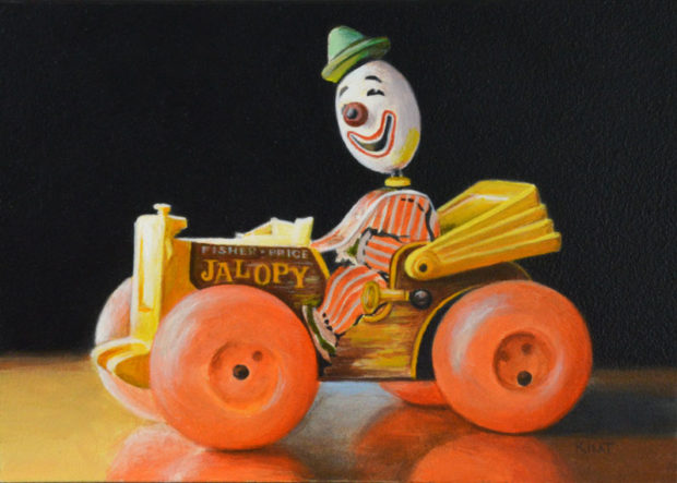 """The Old Jalopy, 7"""" x 5"""", acrylic on panel."""