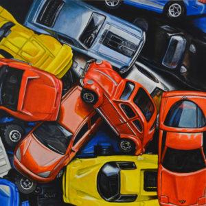 """Matchbox Cars,"" 8"" x 8"", acrylic on panel."