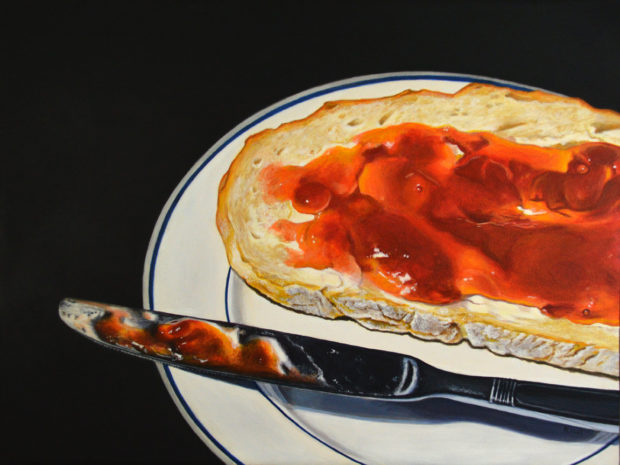 """Bread with Jam, acrylic on panel, 12"""" x 16"""". Commission."""