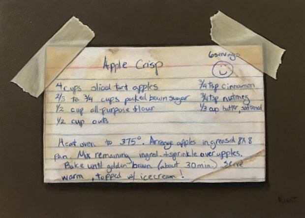 "Apple Crisp, acrylic on panel, 5"" x 7""."