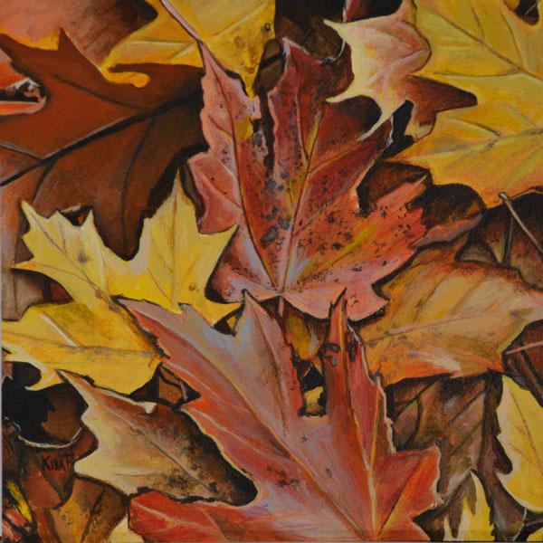 "Autumn Leaves, 6"" x 6"", acrylic on aquabord."