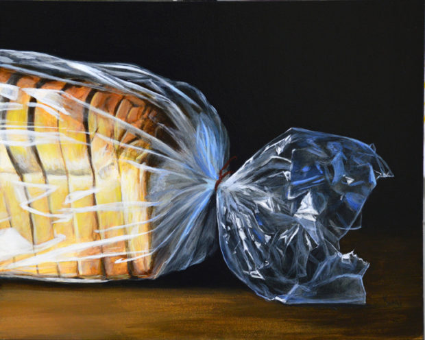 """Dramatic Loaf of Bread, 8"""" x 10"""", acrylic on panel."""