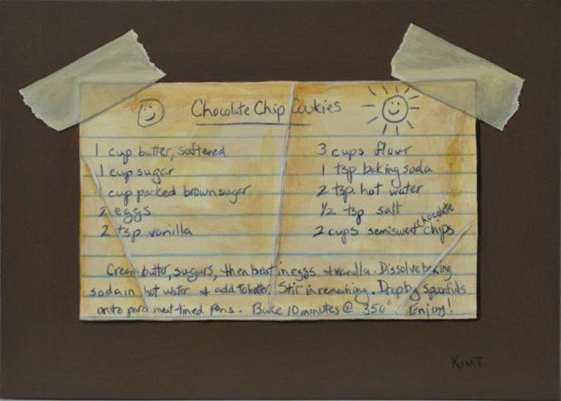 "Chocolate Chip Cookies, acrylic on panel, 5"" x7""."