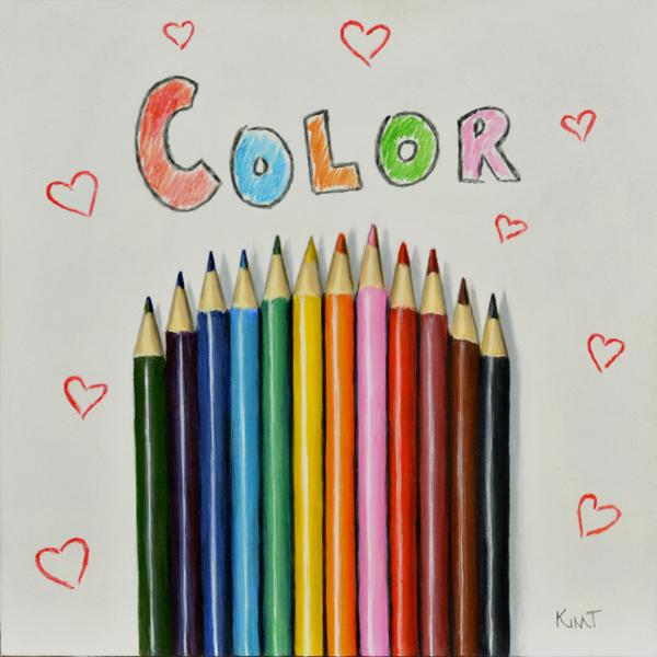 "Color, acrylic on panel, 6"" x 6""."