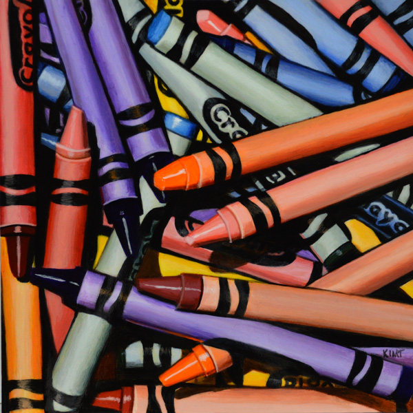 """Crayon Pile 2, acrylic on panel, 6"""" x 6""""."""