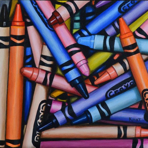 """Crayon Pile 3, 6"""" x 6"""", acrylic on panel."""