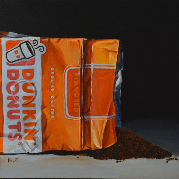 """Coffee Grounds, 6"""" x 6"""", acrylic on panel."""