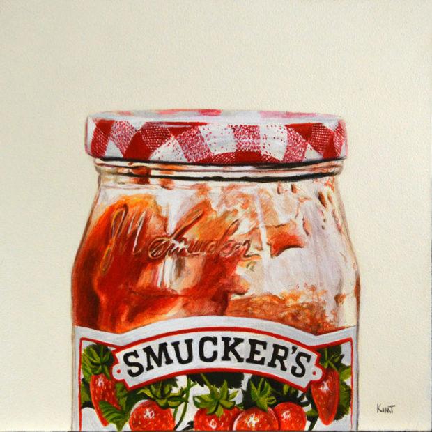 "Jam Jar, acrylic on panel, 8"" x 8""."