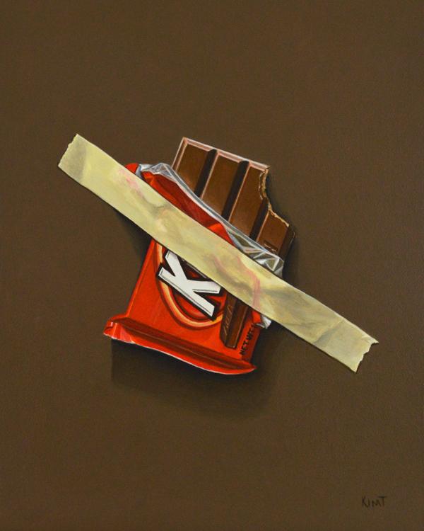 "Emergency Kit Kat, 10"" x 8"", acrylic on panel."