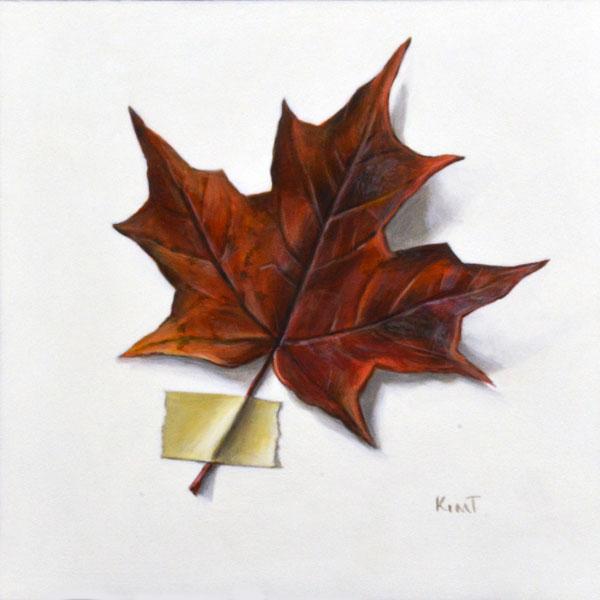 """Last Autumn Leaf, acrylic on panel, 6"""" x 6""""."""