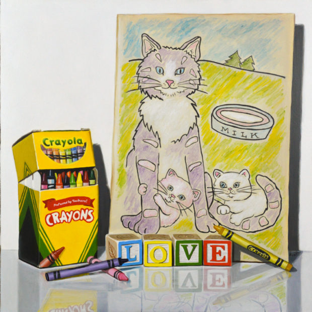 """Love, Cats and Crayons, acrylic on panel, 12"""" x 12""""."""