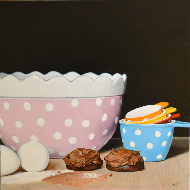 "Kitchen Still Life, commission, 16"" x 16"", acrylic on panel."
