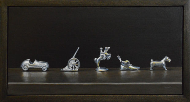 """A Little Parade, acrylic on panel, 6"""" x 12""""."""