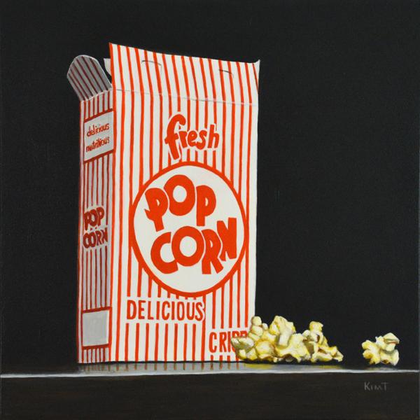 "Fresh Popcorn, 10"" x 8"", acrylic on panel."