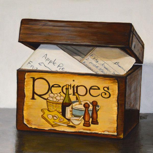 "Grandma's Recipe Box, acrylic on panel, 6"" x 6""."