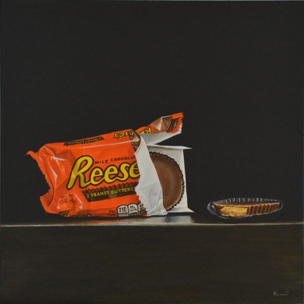 """Reese's Cups, Center Stage, Please, 8"""" x 8"""", acrylic on panel."""