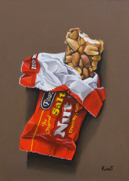 "Salted Nut Roll, 7"" x 5"", acrylic on panel."