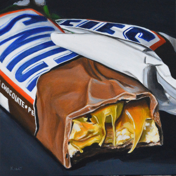 """Dramatic Snickers, acrylic on panel, 5"""" x 5""""."""