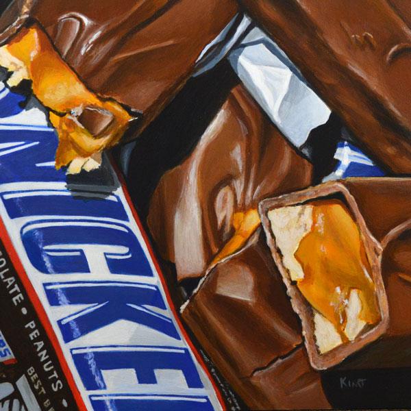"Snickers, acrylic on panel, 6"" x 6""."