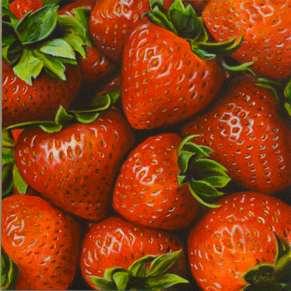 "Summer Strawberries, 6"" x 6"", acrylic on panel."