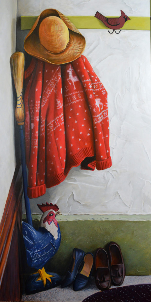 """The Red Sweater, 18"""" x 36"""", acrylic on panel. Commission."""