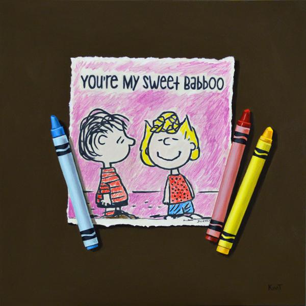 """Sweet Babboo, acrylic on panel, 8"""" x 8""""."""