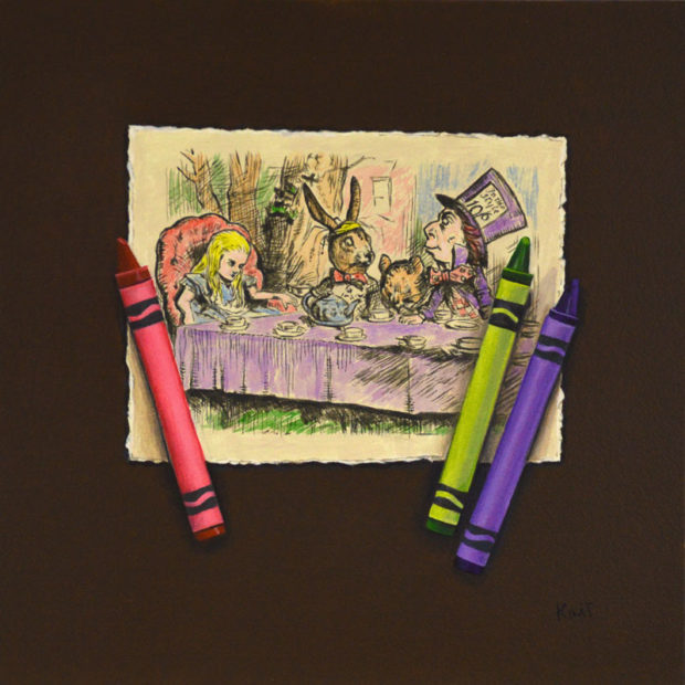 "Wonderland Tea Party, acrylic on panel, 8"" x 8""."