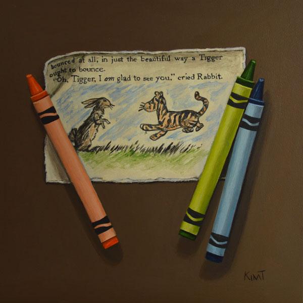 "Tigger and Rabbit, acrylic on panel, 6"" x 6""."