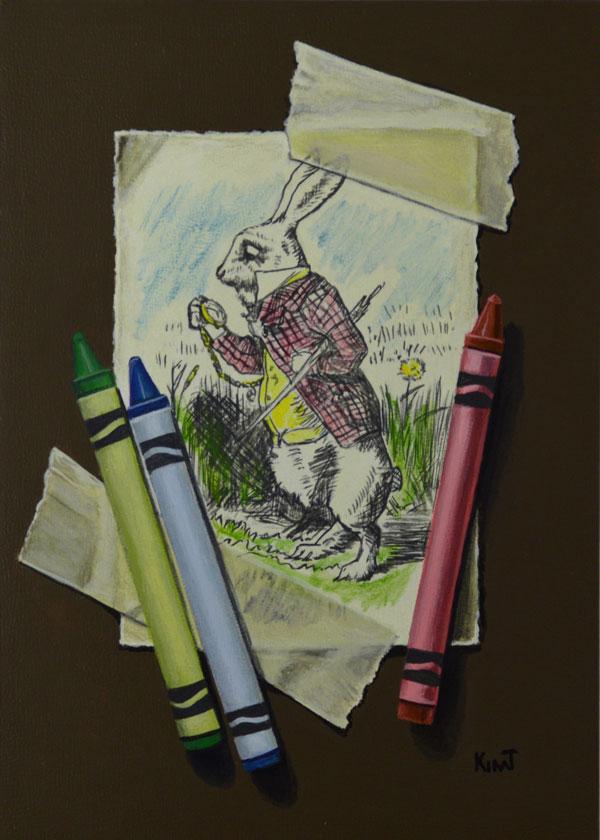 "White Rabbit with Crayons, acrylic on panel, 7"" x 5""."